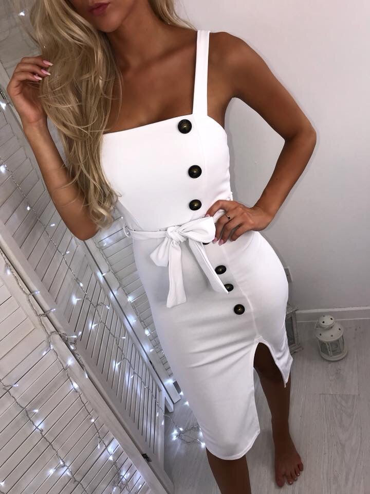 'Catalina' White Button Detail Midi Dress