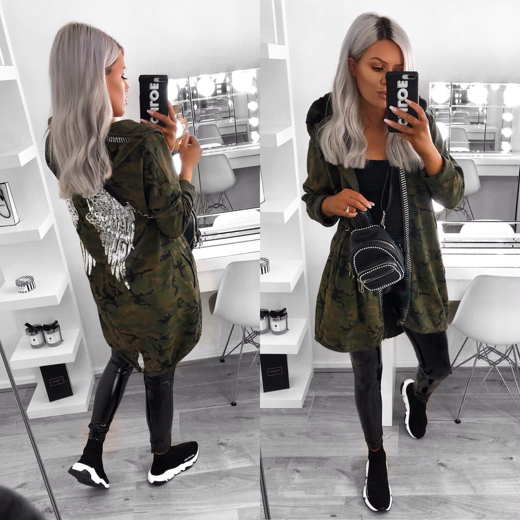 'Casey' Camo Print Hooded Angel Wings Hooded Jacket