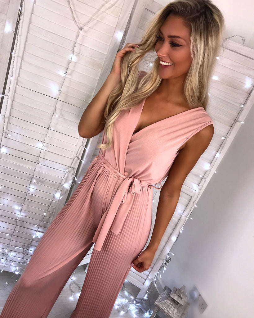 'Skylar' Dusky Pink Cross-Over Wide-Leg Jumpsuit (PRE ORDER 14 DAYS DELIVERY)
