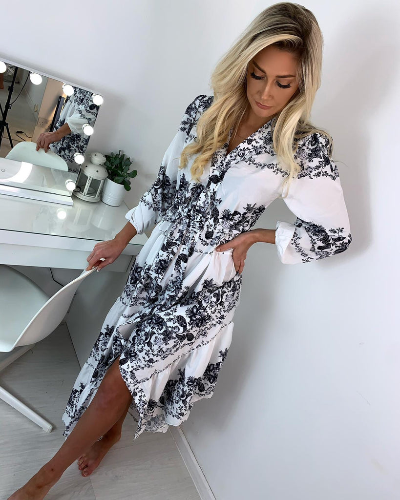 'Milan' Black & White Embroidered Midi Dress