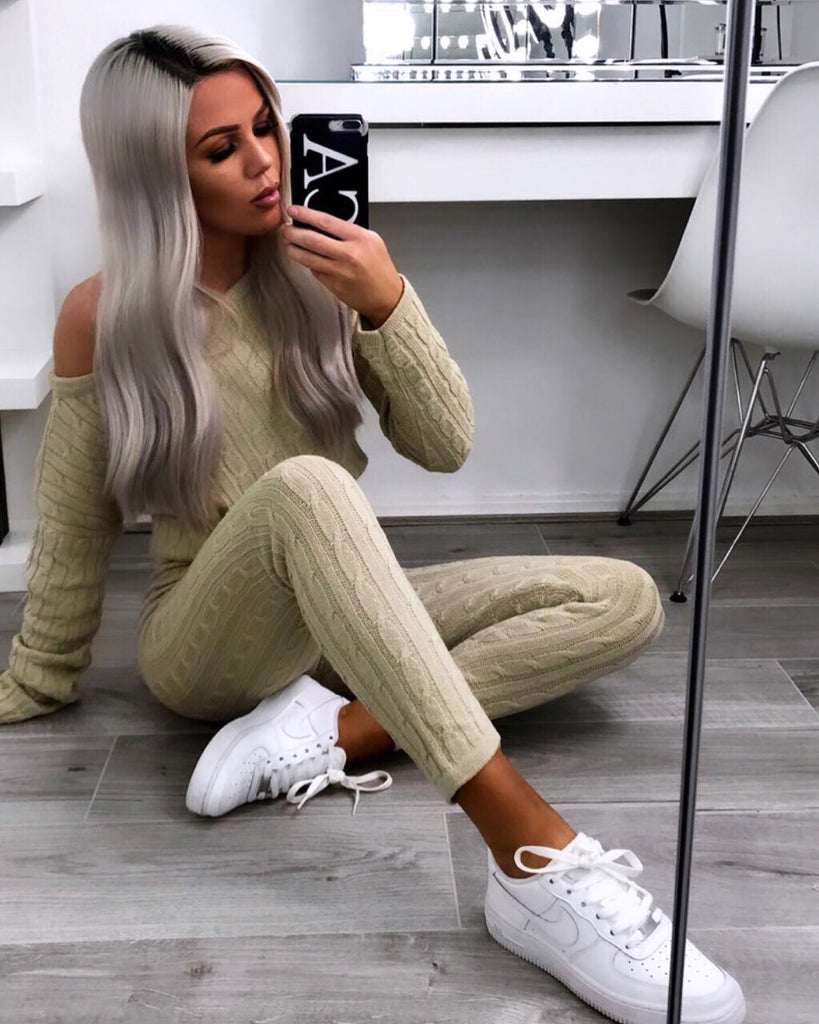 Demi' Beige Knitted Top & Leggings Set