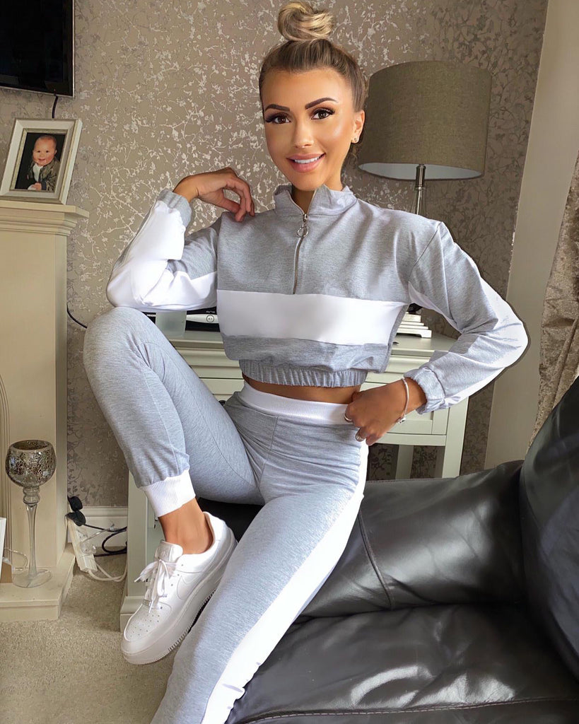 'Luca' Grey & White Contrast Loungesuit