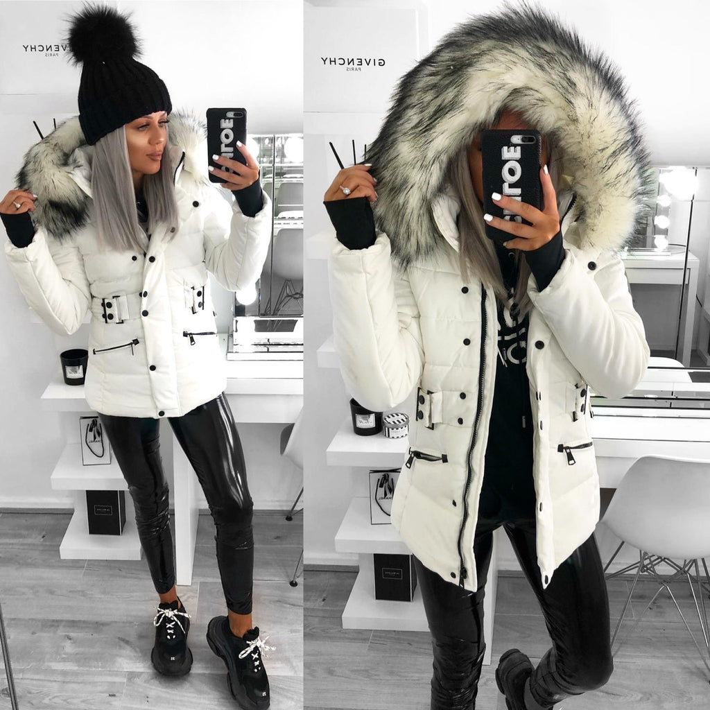 'Tahlia' Cream Puffer Coat with Faux-Fur Hood (D117)