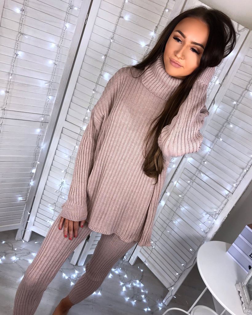 'Esme' Dusky Pink Knitted Roll Neck Loungesuit