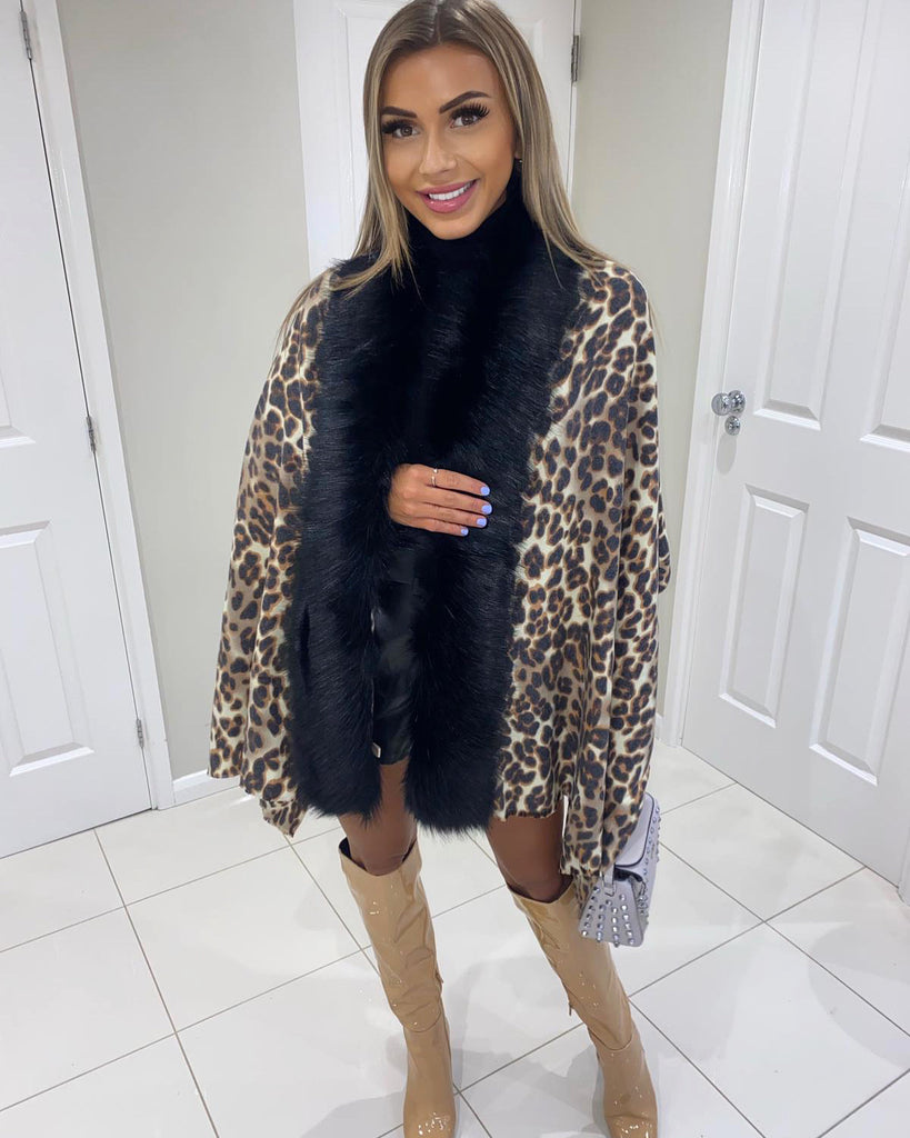 'Izzie ' Animal Print Shawl with Black Faux-Fur Collar