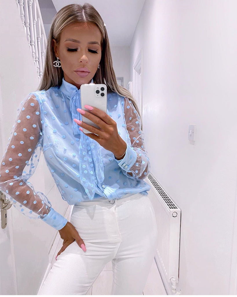'Donatella' Blue Polka Dot Sheer Sleeve Blouse