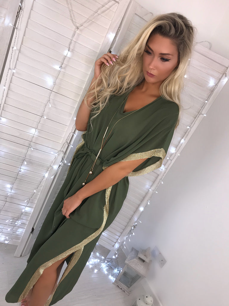 'Raya' Khaki Maxi Dress with Gold Trim