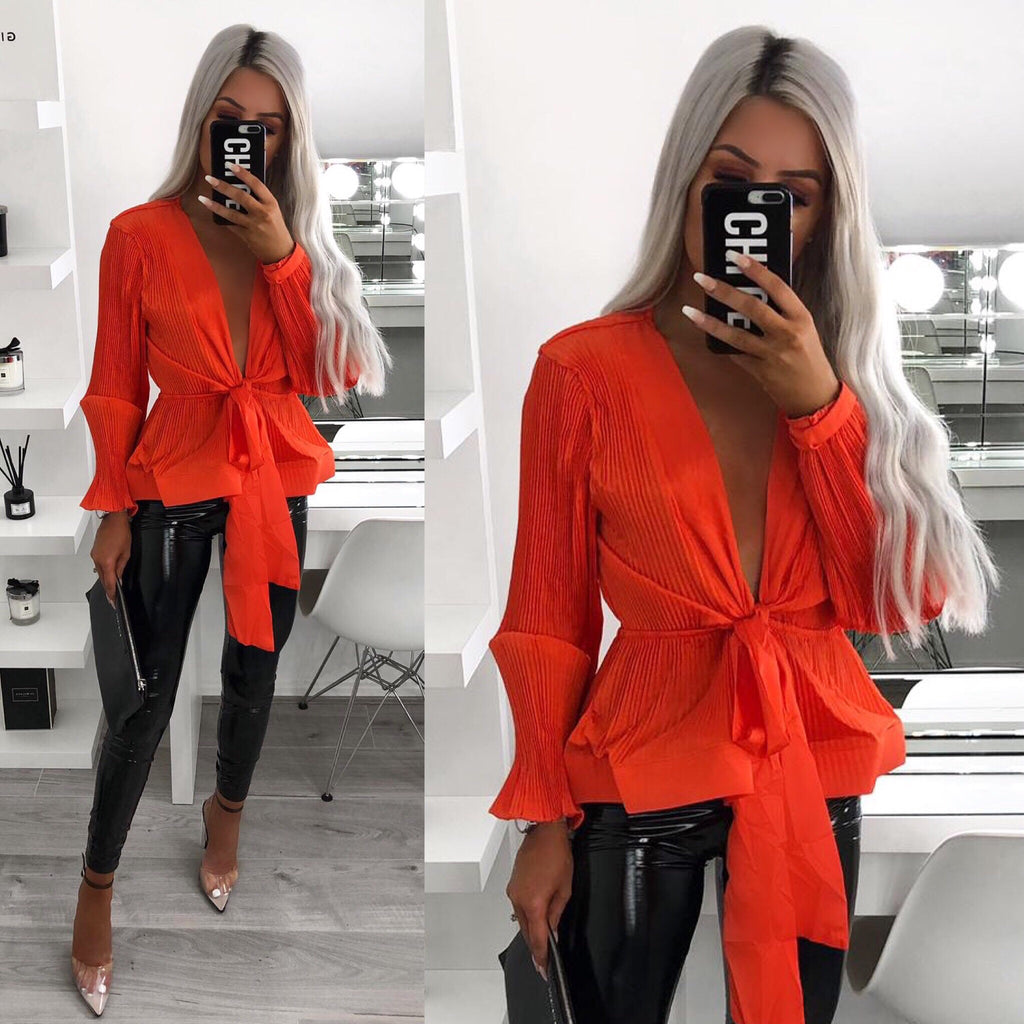 'Klay' Orange Pleated Satin Tie- Front Long Sleeve Top