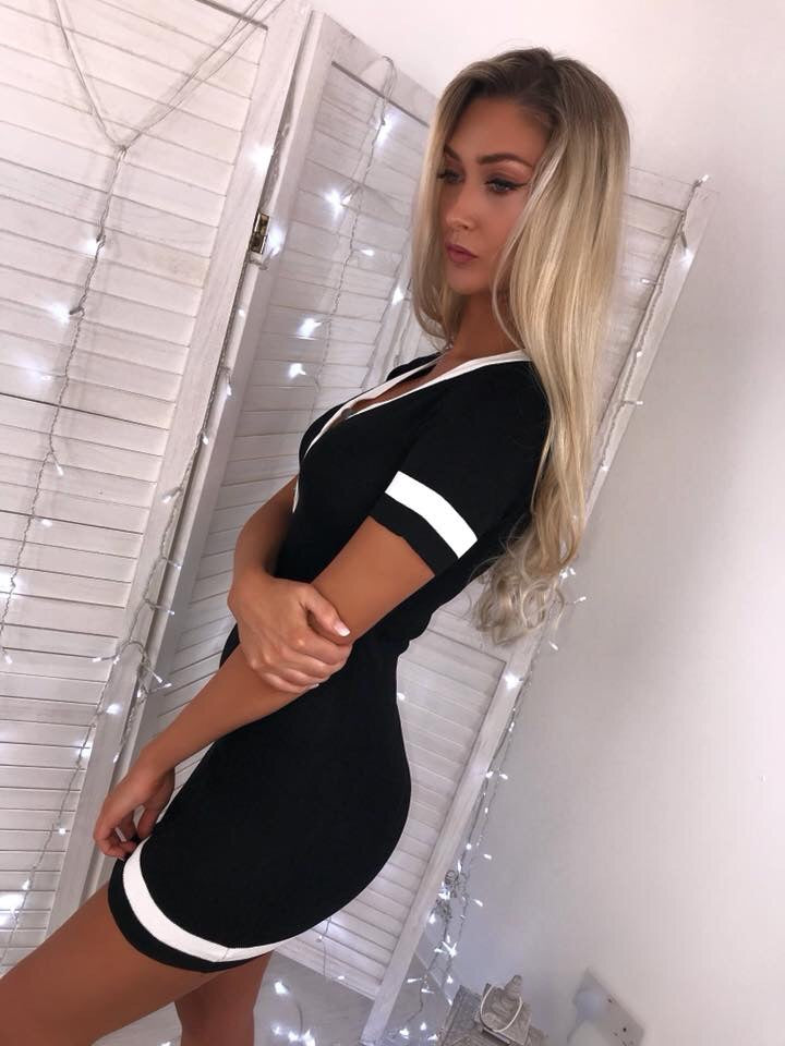 'Taylor' Black Knitted Button Bodycon Dress with White Stripe Detail