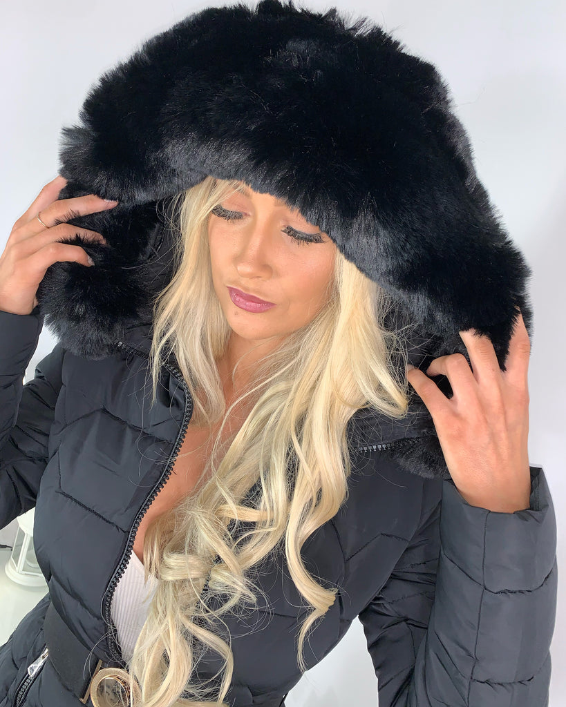 'Kelsey' Black Puffer Coat with Faux-Fur Hood
