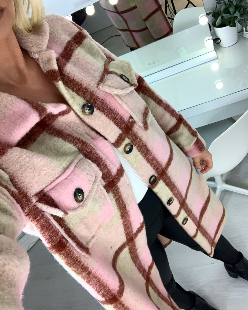 'Lila' Pink Check-Print Longline Shacket