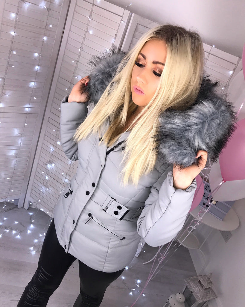 'Tahlia' Grey Puffer Coat with Faux-Fur Hood (D117)
