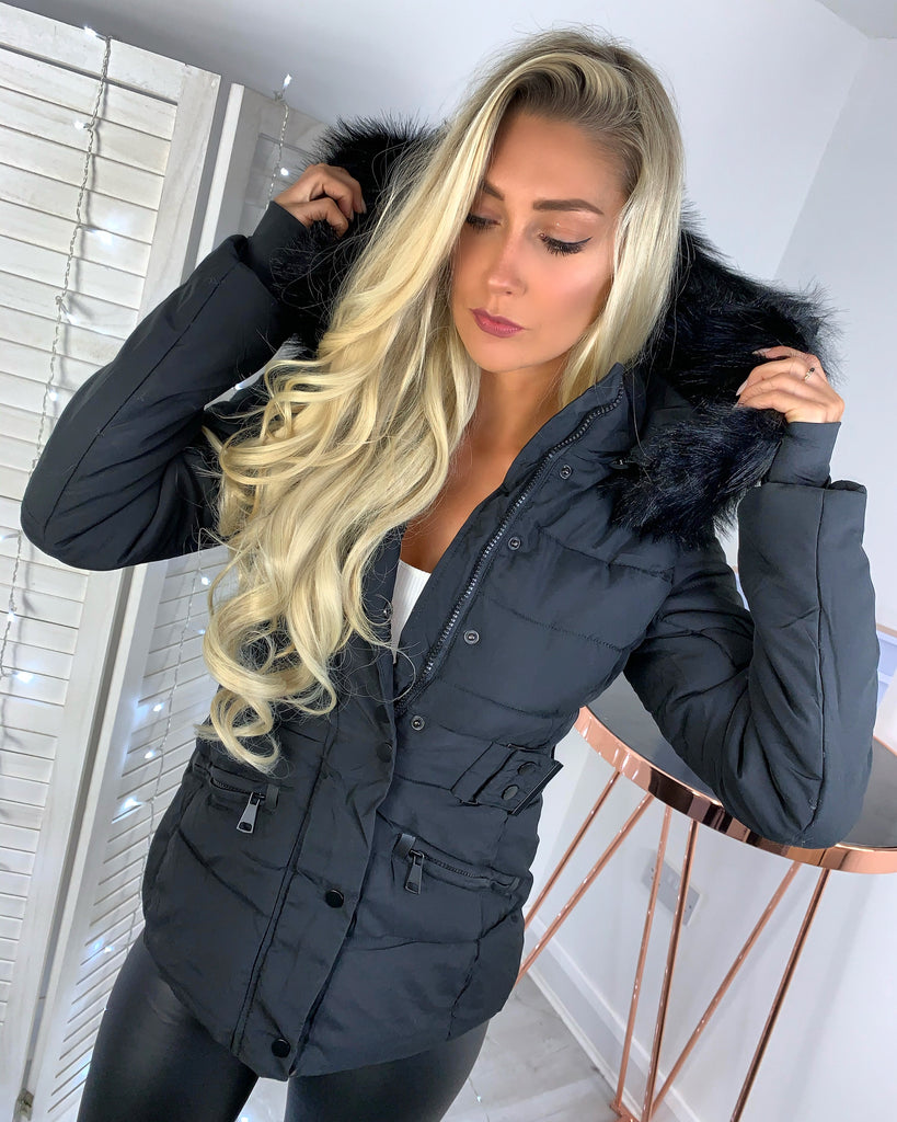 'Tahlia' Black Puffer Coat with Faux-Fur Hood (D117)