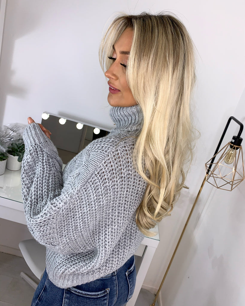 'Vienna' Grey Heavy-Knit Roll Neck Jumper