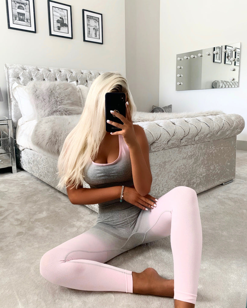 'Noa' Pink & Grey Crop Top & Leggings Set