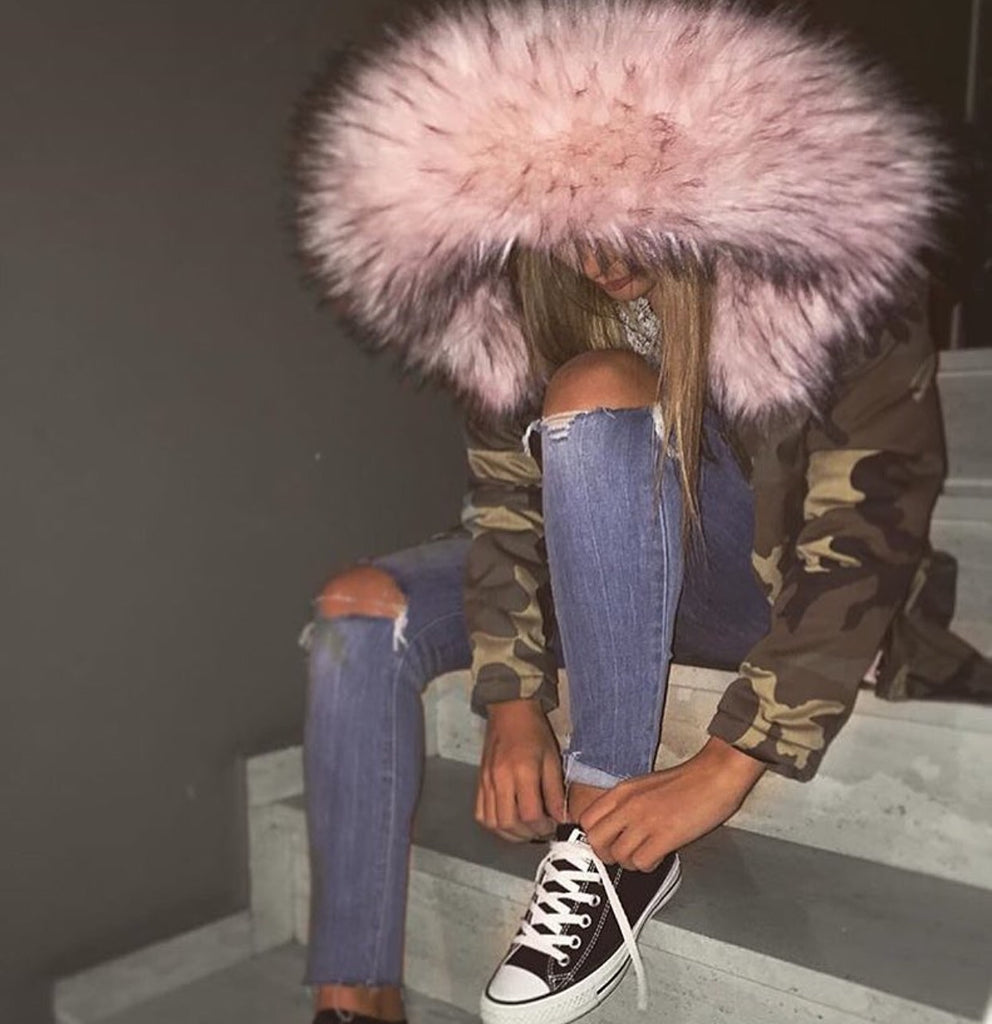 LUXE Camo Parka With Pink Faux-Fur Hood