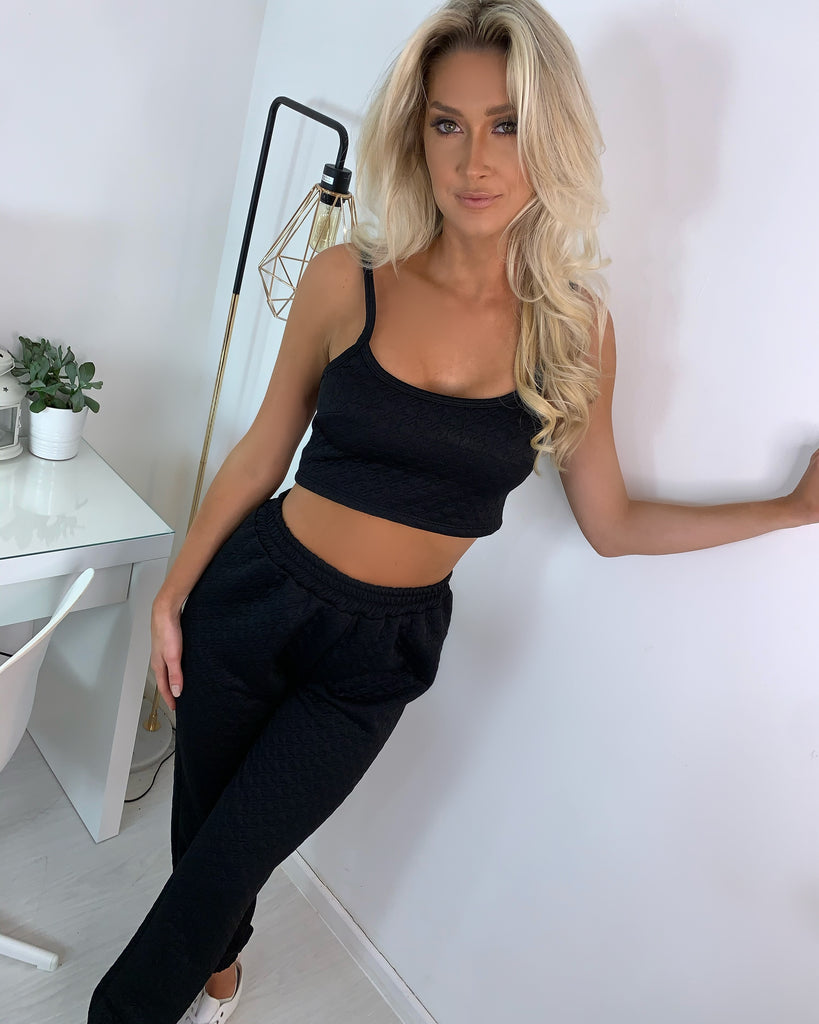 'Marnie' Black Textured Co-Ord Set