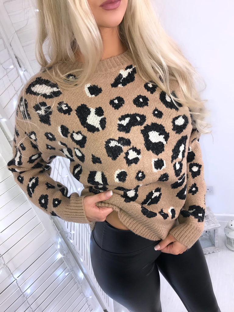 'Mia' Camel Animal-Print Knitted Jumper