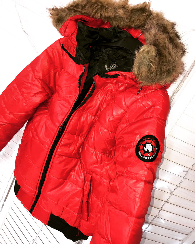'Kenny' Red Puffa-Jacket with Faux-Fur Hood