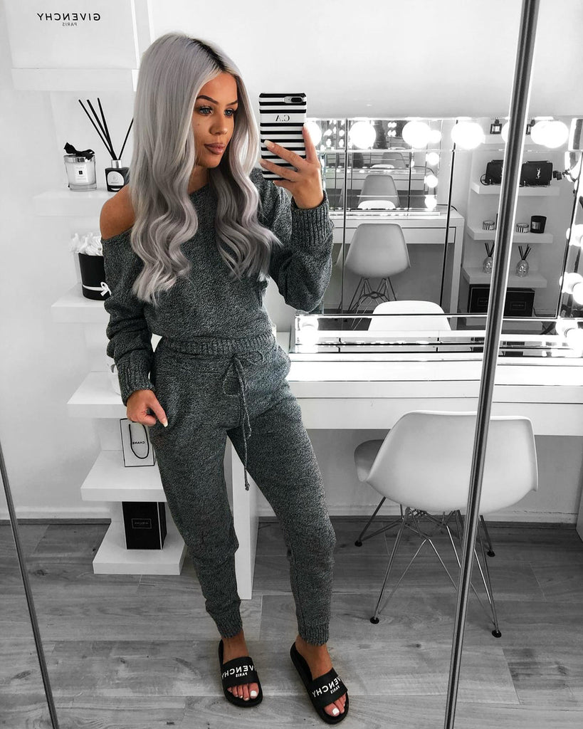 'Millie' Grey Mottled Off-Shoulder Loungesuit