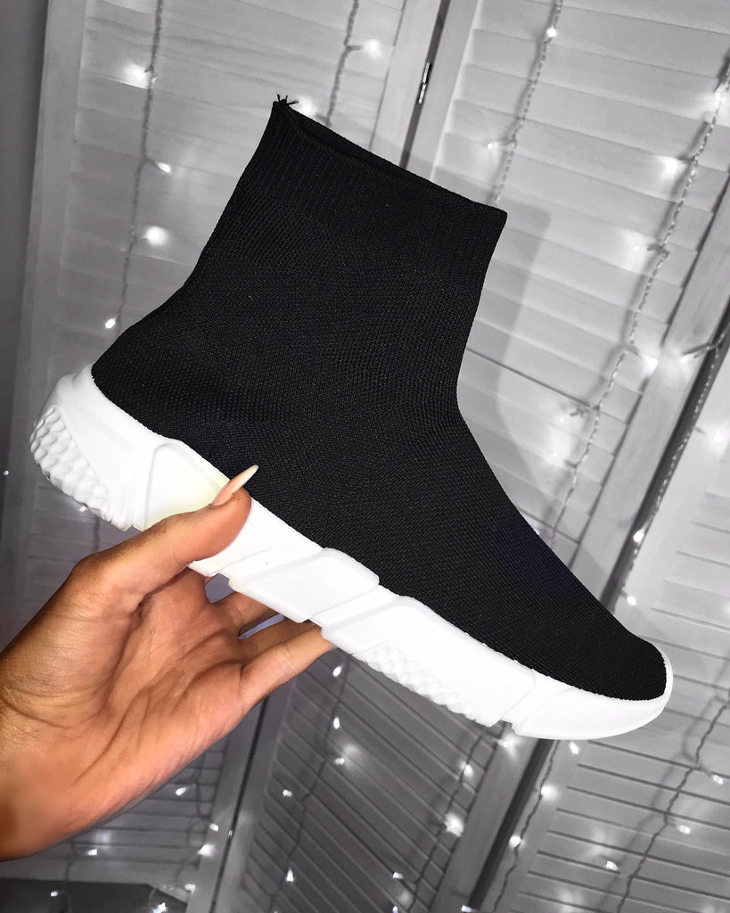 'Lola' LUXE Black Sock Trainers