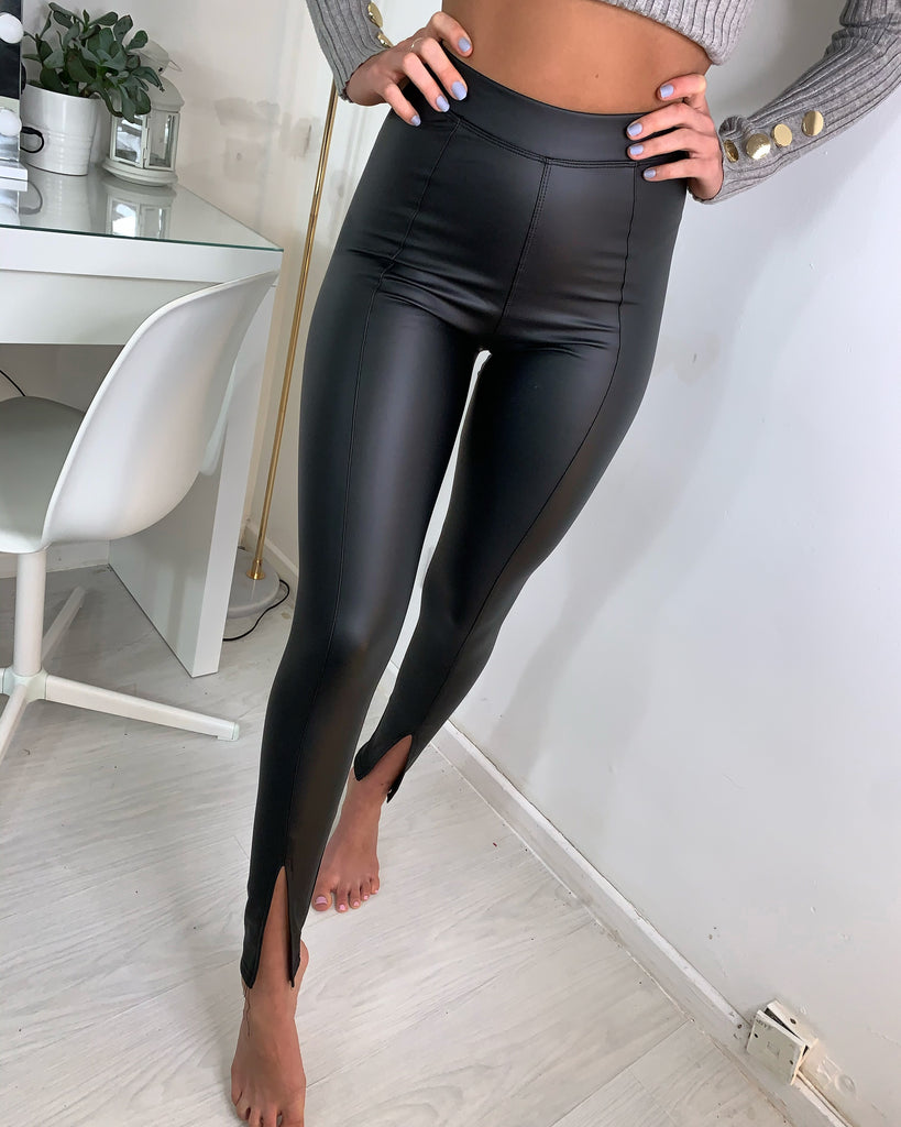 'Bree' Black Leather Leggings with Split