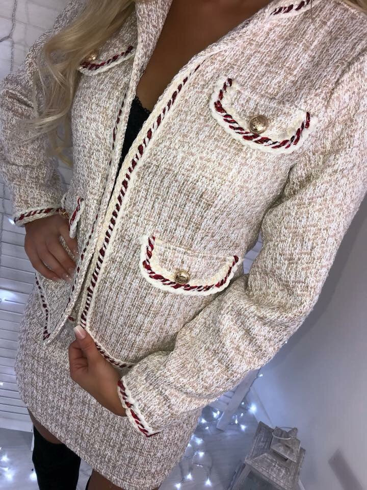 'Carmen' Cream Tweed Suit with Gold-Button Detail