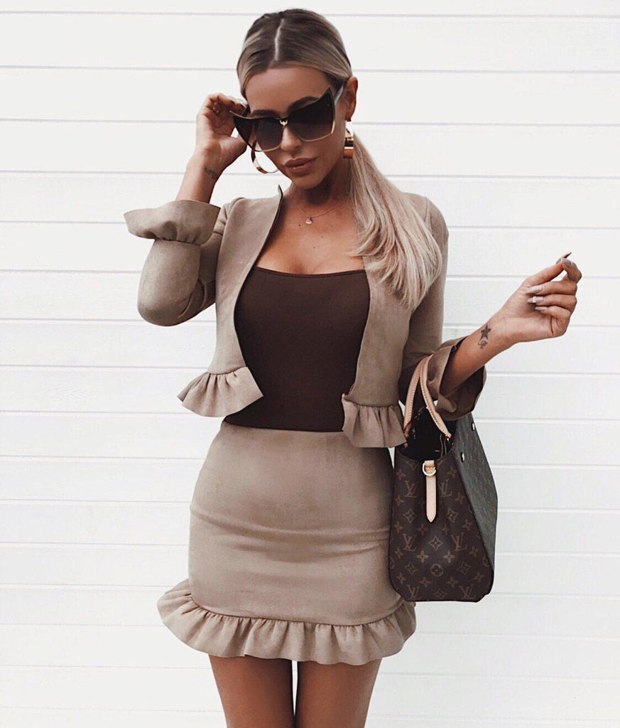 'Abriana' Stone Faux-Suede Jacket & Skirt Two-Piece