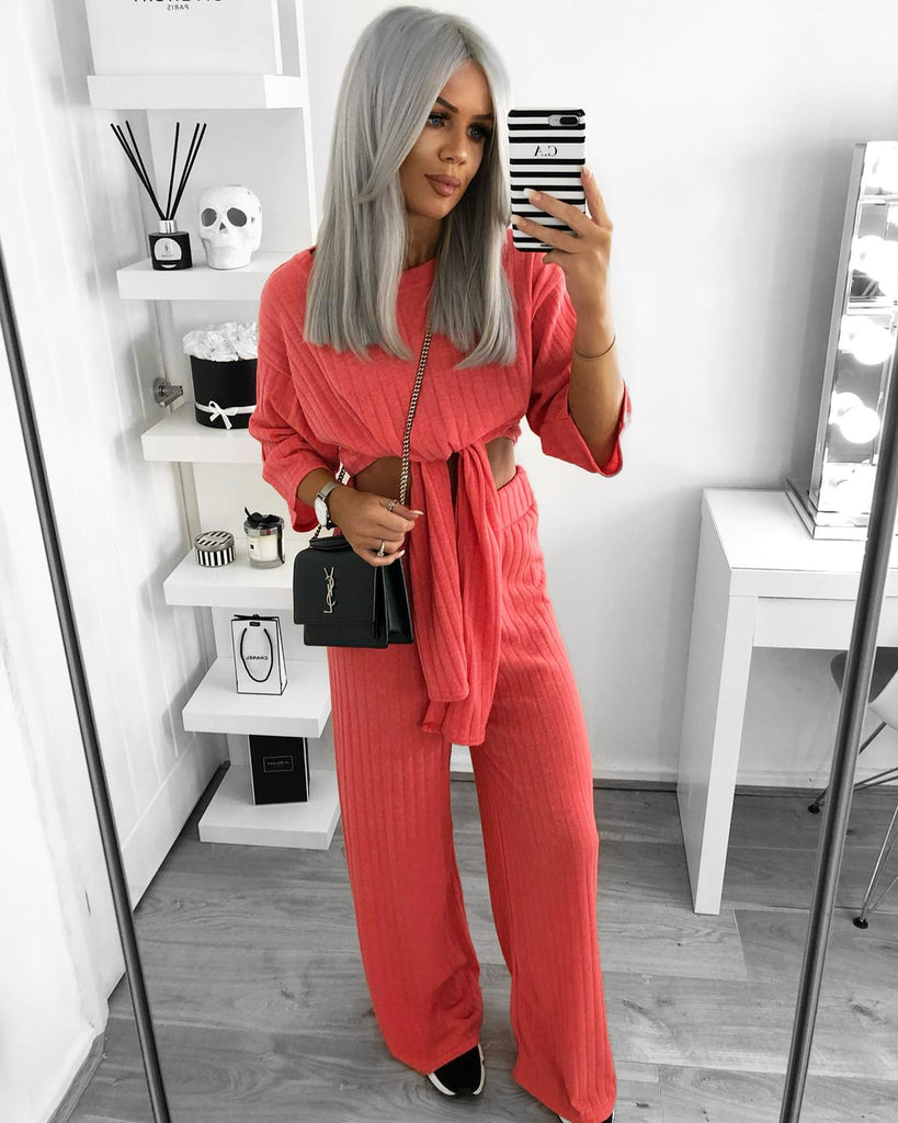'Kady' Coral Two Piece Loungesuit with Tie-Front