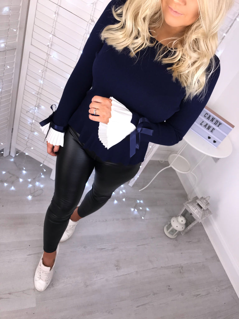 'Darcie' Navy Blue Knit Jumper with White Cuff-Detail