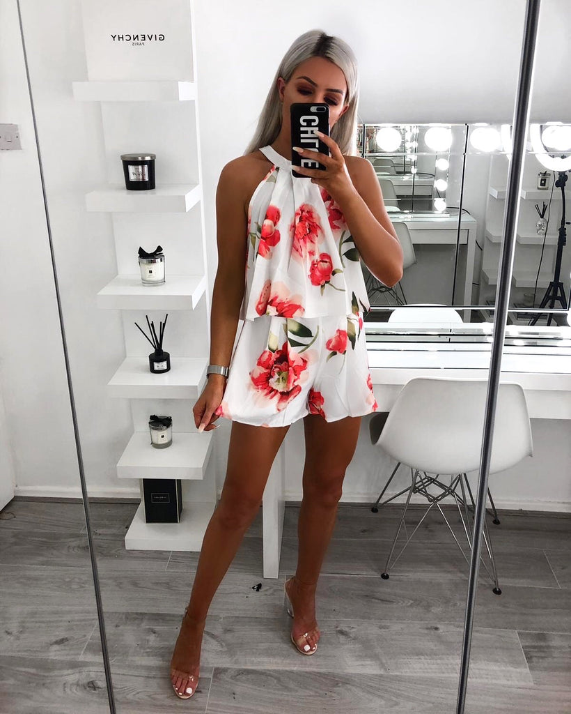 'Portia' White Floral Print Halter-Top & Shorts Set