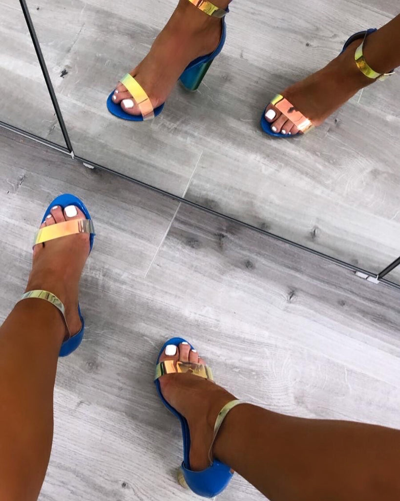 Blue Perspex Barely- There Heels