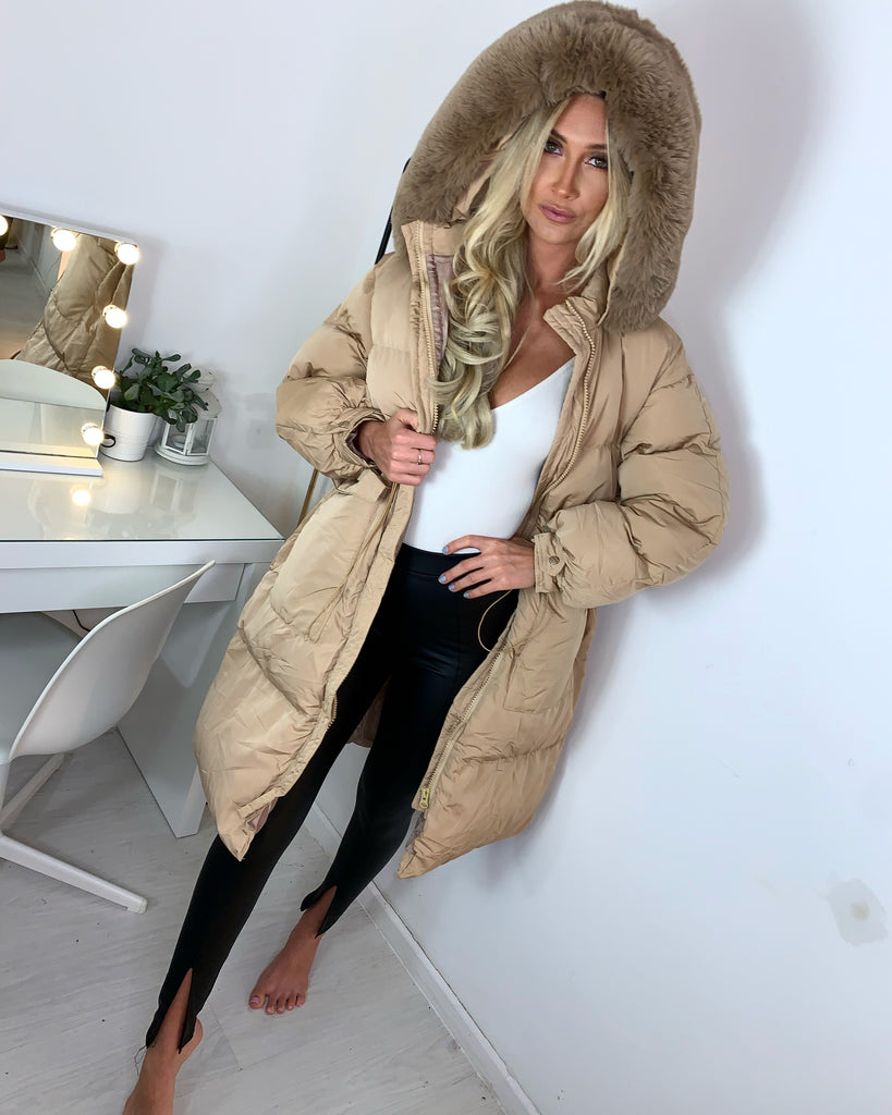 'Jax' Stone Longline Puffer Coat with Faux-Fur Hood