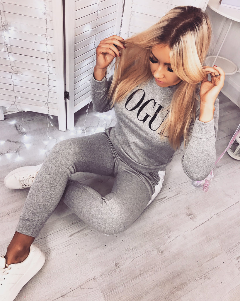 'VOGUE' Grey Two-Piece Tracksuit