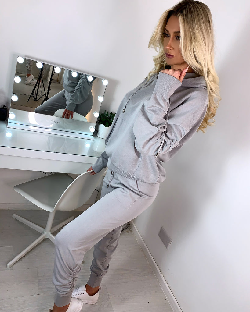 'Myla' Grey Ruched Hooded Loungesuit
