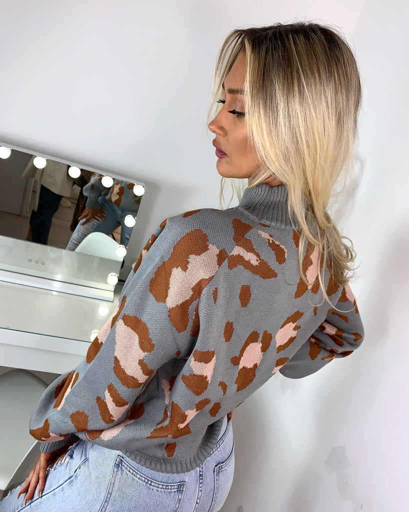'Gabby' Grey High-Neck Animal Print Knitted Jumper