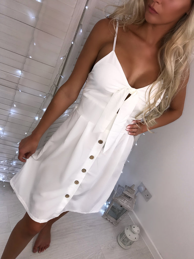 'Leah' White Tie-Front Dress with Button Detail