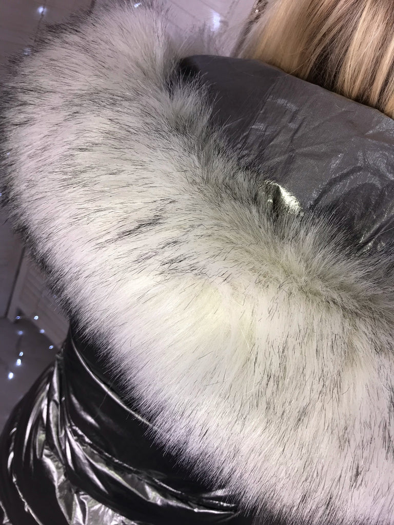 'Sonny' Silver Long Puffer Coat with Grey Faux-Fur Hood