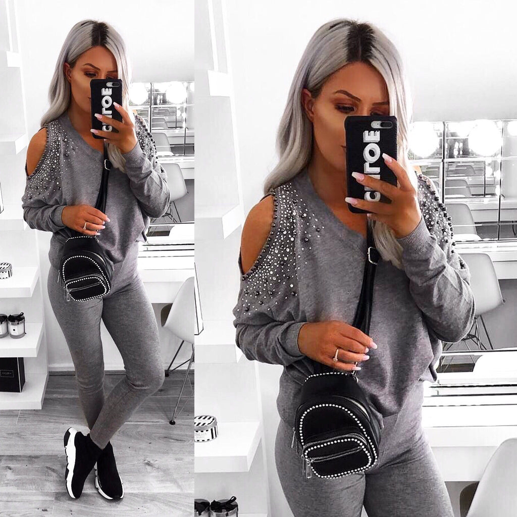 'Milan' Grey Diamanté Cold-Shoulder Loungesuit
