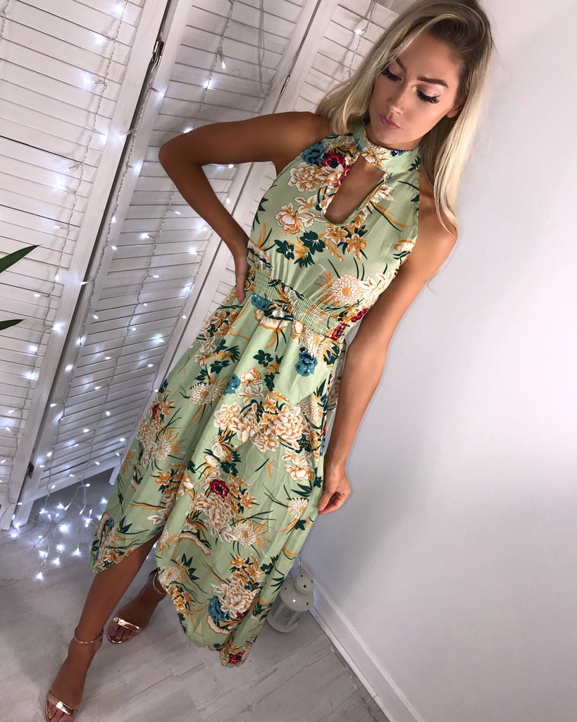 'Jenny' Green Floral Halter-Neck Maxi Dress