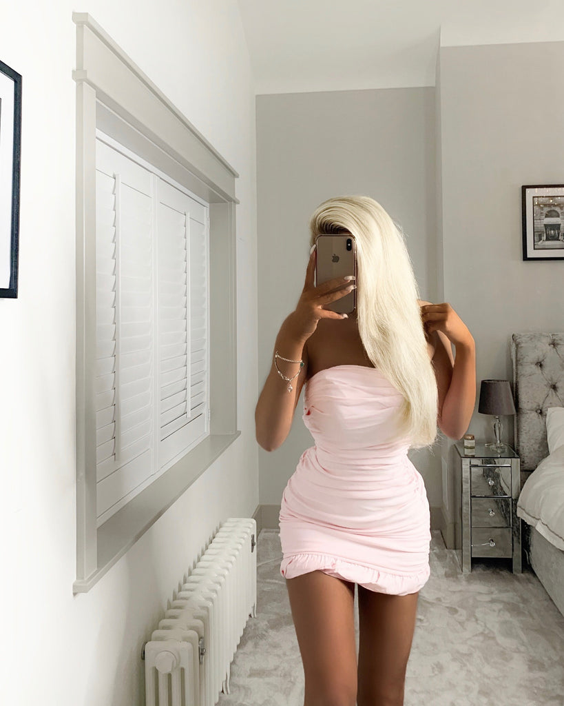 'Taylor' Pink Ruched Bandeau Bodycon Dress