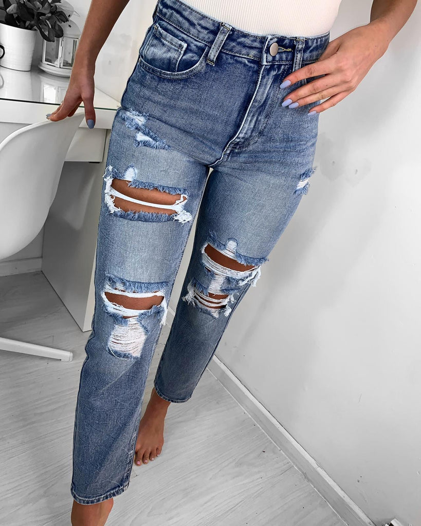 'Teigan ' Extreme Rip High-Waisted Mum Jeans (RD6791)