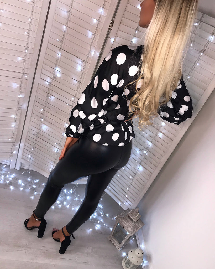 'Marcy' Black & White Satin Polka Dot Wrap-Over Blouse with Tie-Belt