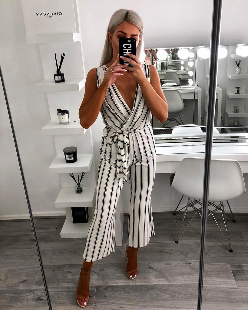 'Asher' White Stripe V-Neck Jumpsuit with Tie Belt