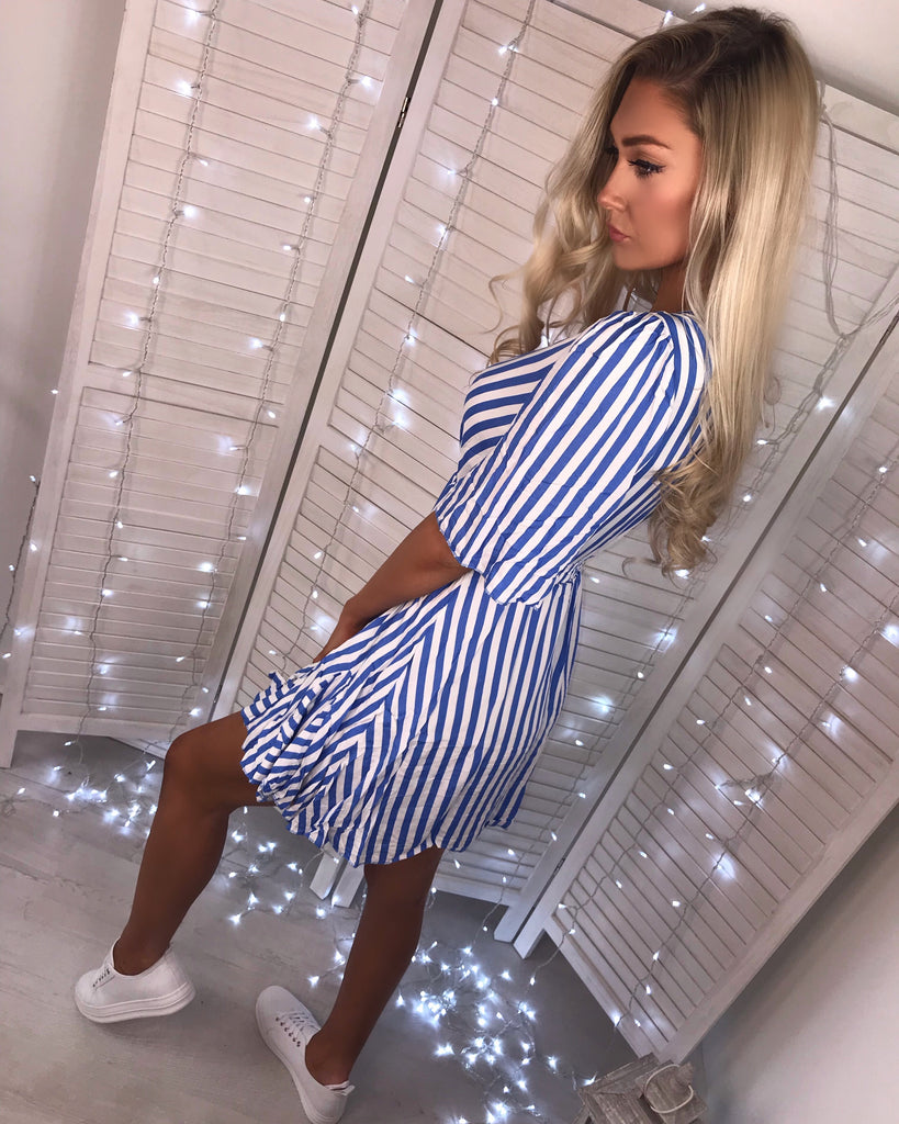 'Laine' Blue & White Stripe Wrap-Over Dress with Frill Hem