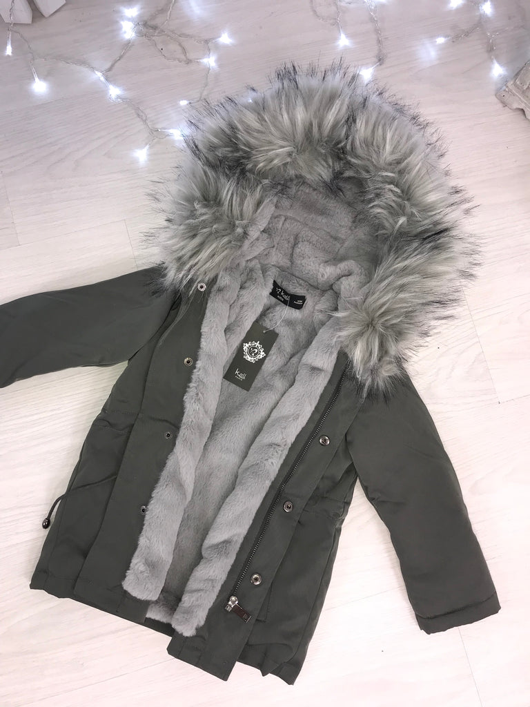 CHILDRENS Grey LUXE Parka with Faux-Fur Hood & Fleece Lining