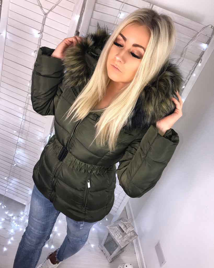 'Freya' Khaki Puffer Coat with Faux-Fur Hood & Belt