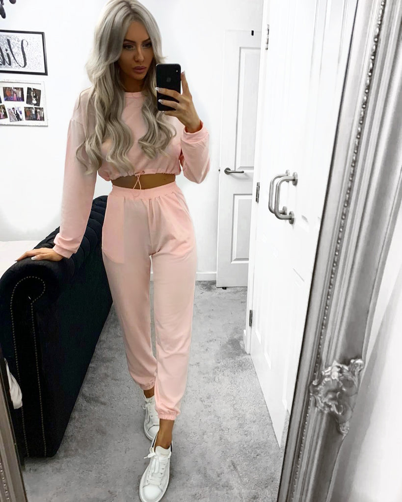 'Jolie' Pink Drawstring Two-Piece Loungesuit