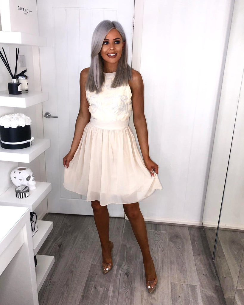 'Maisie' Cream Sequin Bodice Skater Dress