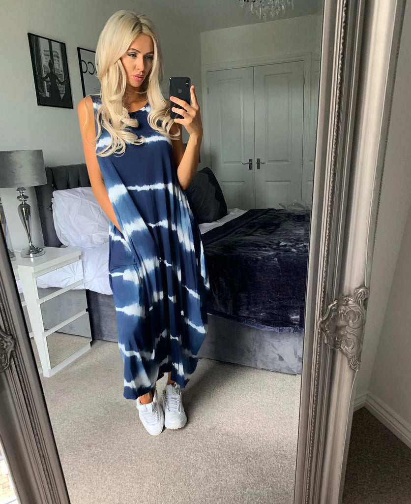 'Olivia' Blue Tie-Dye Maxi Dress